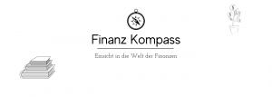Logo von Finanzkompass: Finanz Kompass - Einsicht in die Welt der Finanzen, links vom Logo ist ein Bücherstapel und rechts davon eine Blume in einem Topf mit Münzen statt Blättern