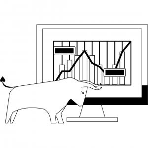 Schwarz-weiß Stier und dahinter eine Abbildung eines Aktienkurses