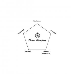"""Fünfeck mit der Beschriftung """"Wachstum"""", """"Rentabilität"""", """"Stabilität"""", """"Liquidität"""" und """"Effizienz / Effektivität"""""""