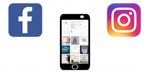 Abbildung eines Handys auf dem die Instagram Seite von Finanz Kompass zu sehen ist, sowie daneben die Logos von Instagram und Facebook