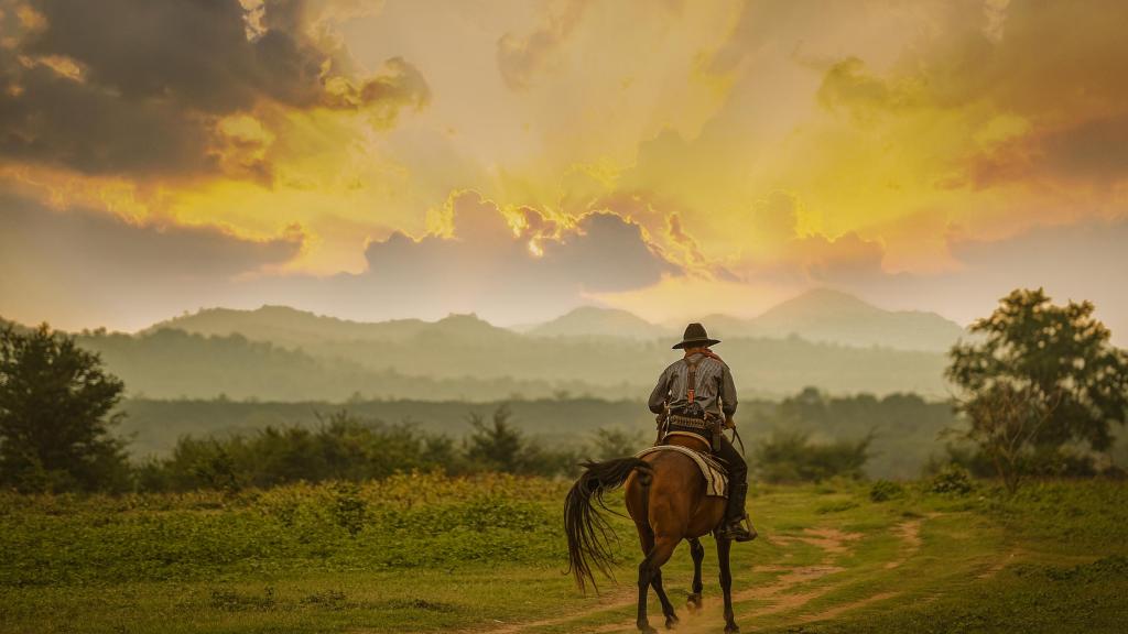 Cowboy reitet weg in den Sonnenuntergang