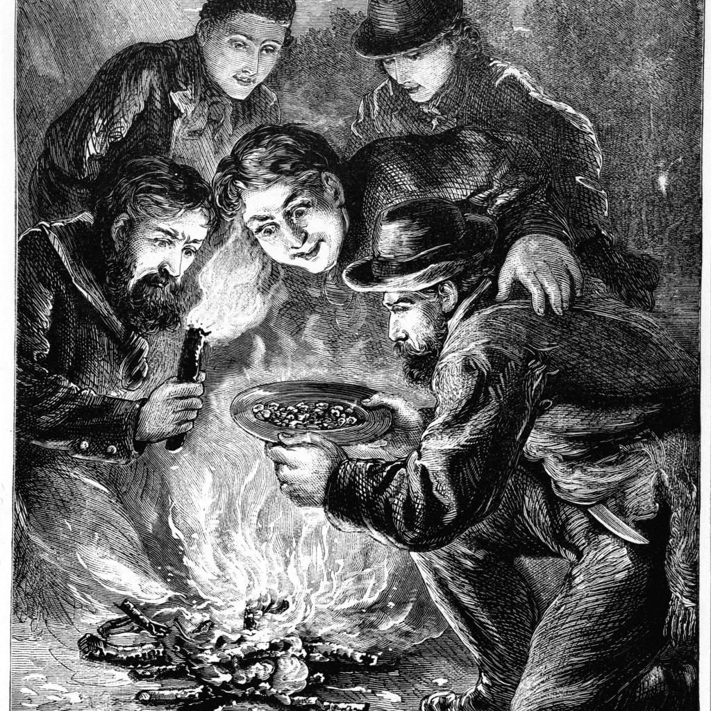 Schwarz-Weiß Bild von Goldgräbern