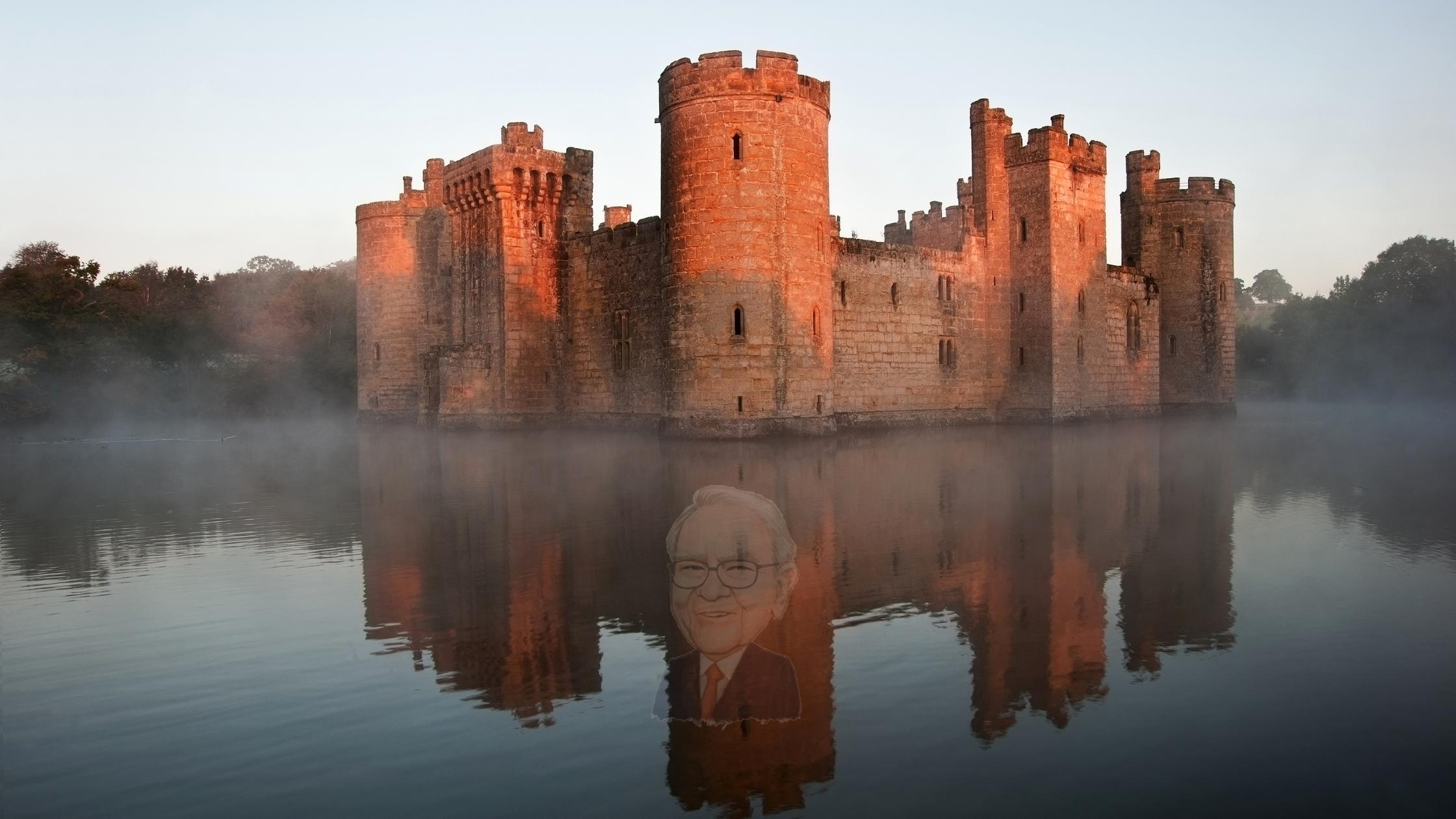 Darstellung einer Burg mit einem Burggraben