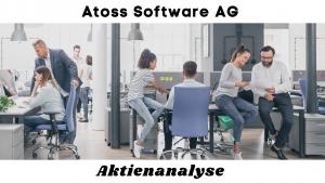 """Im Hintergrund ein Büro mit Mitarbeitern. Überschrift """"Atoss Software AG - Aktienanalyse"""""""
