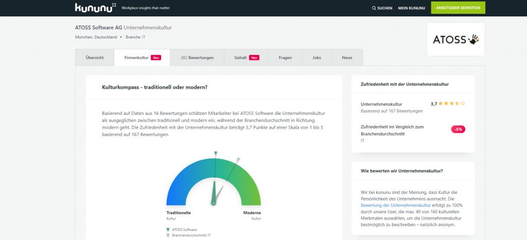 Bewertung der Unternehmenskultur mit 3,7 / 5 Punkten auf kununu.de