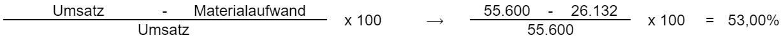 ((Umsatz - Materialaufwand) / Umsatz) * 100