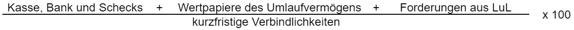 ((liquide Mittel + Forderungen aus LuL) / kurzfristige Verbindlichkeiten) * 100