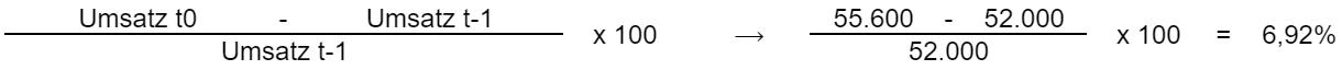 Umsatz t0 minus Umsatz t-1 geteilt durch Umsatz t-1
